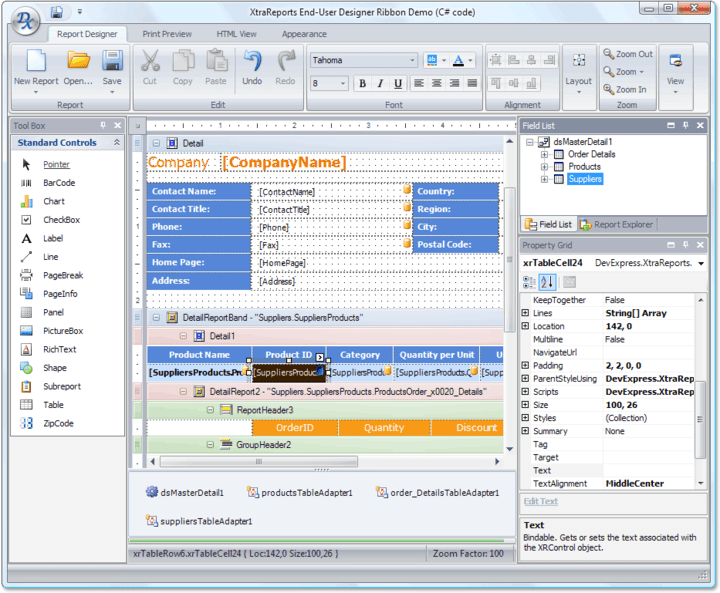 End-User Report Designer: You don't need to change reports and re-build your applications each time end-users need to slightly modify a report. They can make any changes on their side using the specially designed End-User Report Designer dialog. In fact, they can also use this dialog to create reports from scratch.