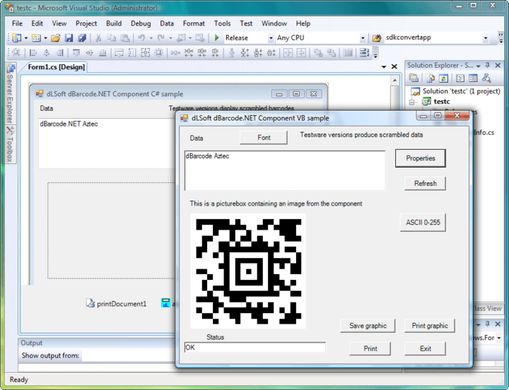 Properties: The dBarcode.NET Components may be operated entirely by setting or retrieving Property values programmatically.