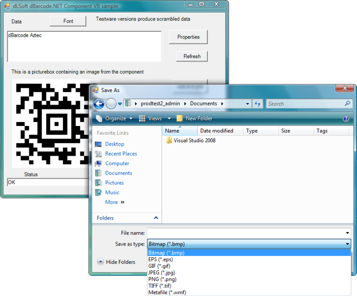 Saving a barcode image: Barcode images should NOT be saved by attempting to save the image directly from a PictureBox. This will result in the image being saved with screen resolution – which is rarely suitable for barcodes. To save an image for subsequent printing the developer should use sBarcode(hDpi,vDpi,filename) – in which case hDpi and vDpi are the target horizontal and vertical resolutions of the target printer and filename is the full pathname of the file to be created.
