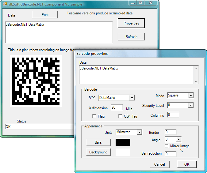 dBarcode.NET: Allow barcode images to be created within the user's own .NET application. A barcode image may be displayed on screen or printed on a printer, and the image may be passed to any other image-handling component.