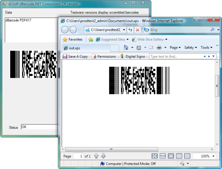 Printing: Printing the image returned by the Barcode() call may be accomplished by any of the printing techniques available for Visual Studio.NET project.