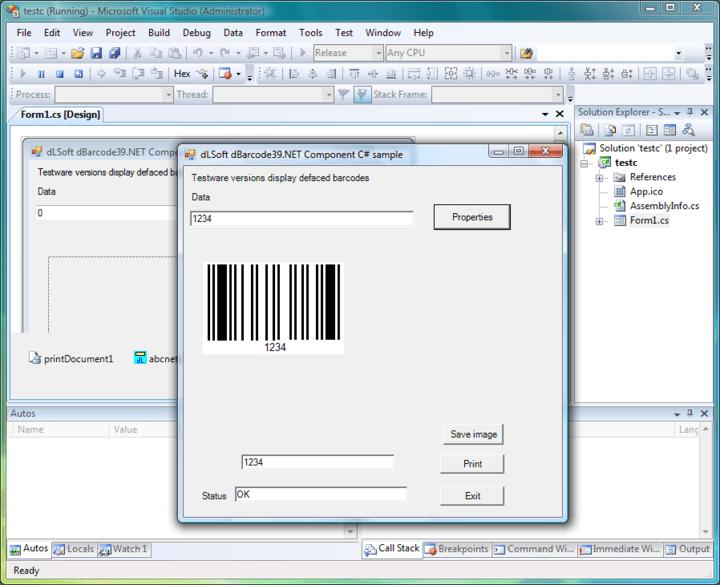 Screenshot of dBarcode.NET Standard