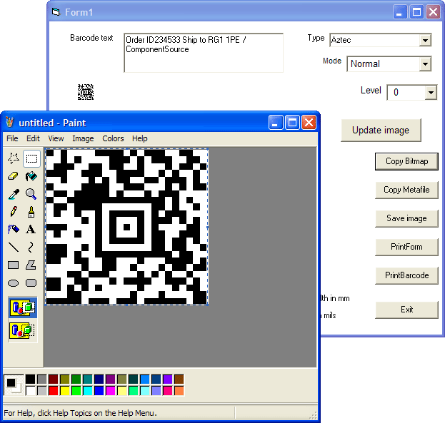 Copy Barcode Bitmap: You can copy the barcode (as a Bitmap) and paste it into other applications.