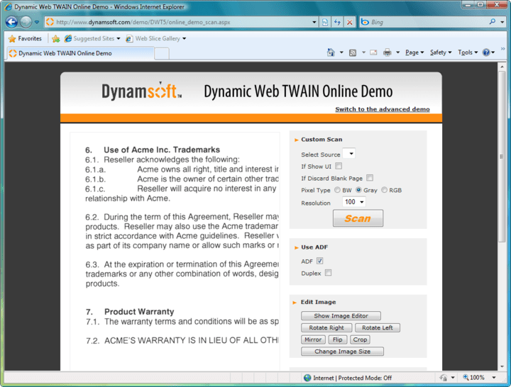 Screenshot of Dynamic Web TWAIN: A true web scanning solution specifically optimized for your web applications. It enables you to acquire images from any TWAIN compatible devices (scanners or cameras) and upload the scanned images to web servers.