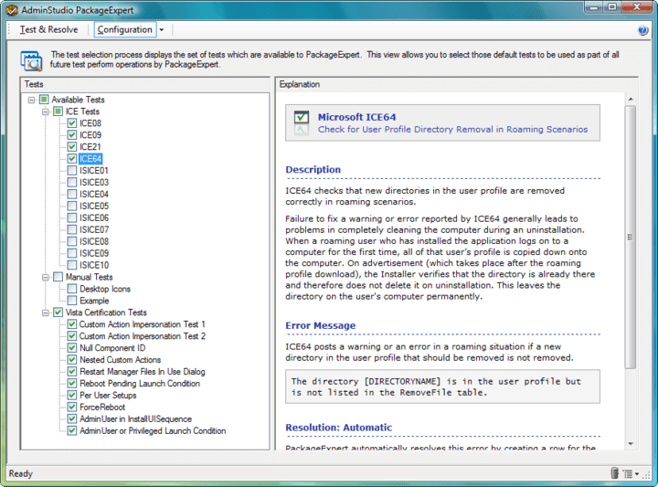 Screenshot of AdminStudio Professional