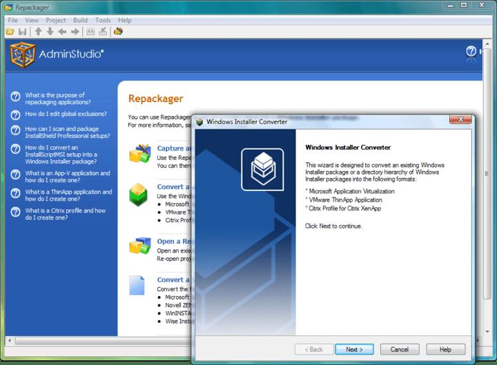 Screenshot of AdminStudio Standard