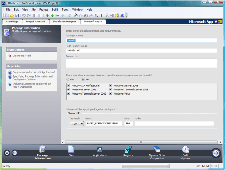Specifying Package Information and Deployment Options: When creating an App-V application, the first step is to specify the package name, root folder name, and enter a comment on the Package Information page. From this page, you can also specify any operating system requirements, identify the deployment server, and choose to include diagnostic tools with the virtual package.