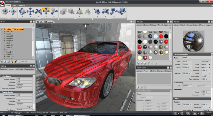 Kribi 3D Designer 2.0 - Intuitive Visual Interface: Intuitive visual interface enables users with no 3D expertise to create interactive 3D content quickly and easily for developing applications that take advantage of Kribi 3D Player. Add or edit any object, material, light, create powerful objet assembly behavior with just few mouse clicks.