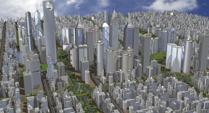 Complex data structures of nearly unlimited dimensions: The City is a high detailed scene with up to 58 million polygon. State of the art support for advanced description of the 3D models with hierarchical scene structure with objects and multilevel Instance.