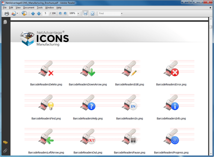 Icon Sizes: NetAdvantage Icons includes icons in seven different sizes (16px, 24px, 32px, 48px, 64px, 128px and 256px square)