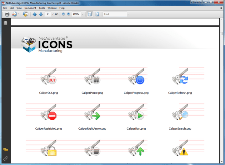 Icon States: Infragistics also provide the icon in three interactive states: normal, hover (highlighted) and disabled (grayed-out).
