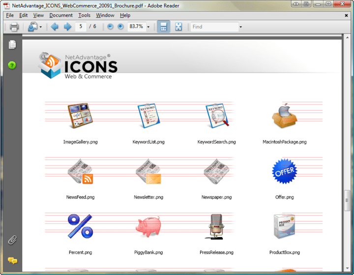 Icon Formats: NetAdvantage Icons includes icons as PNG files, plus an ICO file.