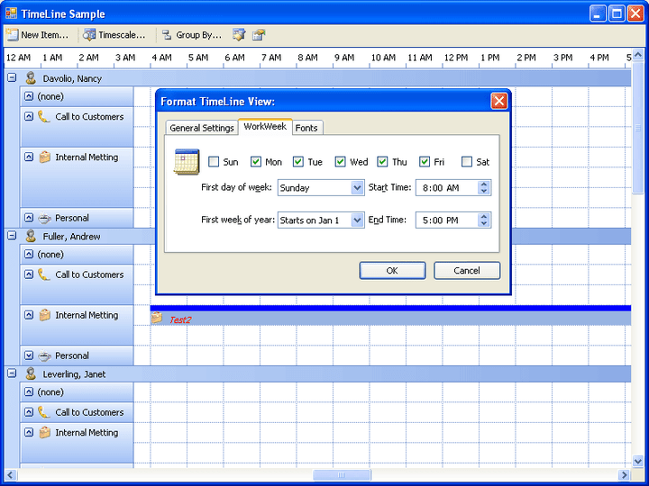 Janus Timeline Control for .NET: Janus Timeline Control for .NET is a 100% C# managed control patterned after Outlook's Journal. The Control is ideal for displaying items in relation to time.
