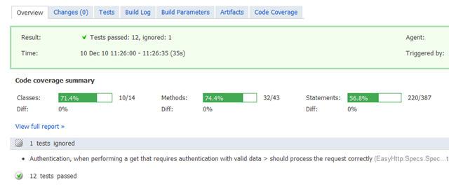 Coverage Stats on a TeamCity Server