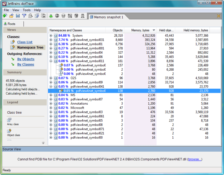 Memory profiling: With dotTrace you can quickly profile the memory usage of your .NET applications. The profiling process is not only simple but fast. A wealth of profiling data is accurately recorded and presented in the form of memory snapshots, allowing thorough analysis of memory issues.