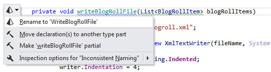 Inconsistent Method Naming: ReSharper detects that a method name doesn't respect accepted naming conventions and suggests renaming it to use UpperCamelCase.