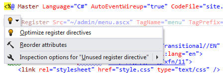 Redundant Register Directive: ReSharper detects that a directive registering a user control in an ASP.NET markup file is redundant and suggests removing it, as well as any other unused directives in that file.
