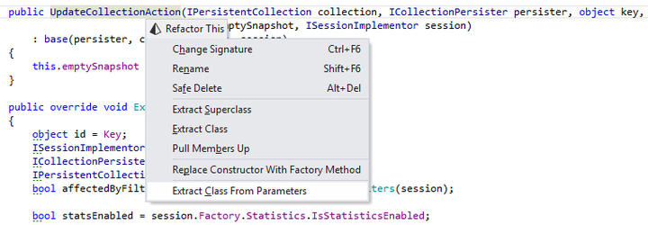 Extract Class from Parameters: This refactoring helps streamline your APIs: it creates a new class or struct and converts selected parameters of a method into encapsulated fields of the newly created type. Usages of parameters are converted to usages of properties of the created type.