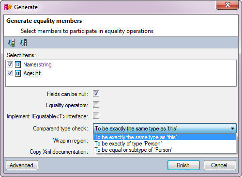 Generate Equality Members: Generate Equality Members wizard offers different ways of generating a working implementation of a type equality check.