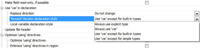 Configuring Language Usage Options: Has your team come to agreement on whether to use implicit type qualifiers? Set up a team-wide code cleanup preference accordingly and let ReSharper take care of enforcing it.