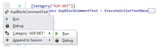 Manage Tests from the Code Editor: ReSharper provides contextual commands to run, debug, or add a certain test or test fixture to a test session.