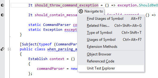 Navigation to Tests: You can navigate from a test or a test fixture to Unit Test Explorer that shows all tests found in solution. From there, you can organize tests into sessions.