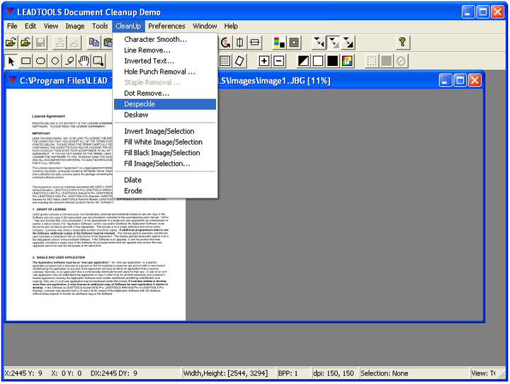 Document Cleanup: Remove erronious marks from scanned documents