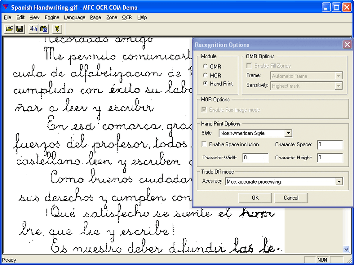 Multilingual ICR support: Intelligent Character Recognition in almost 100 languages (15 with dictionary support).