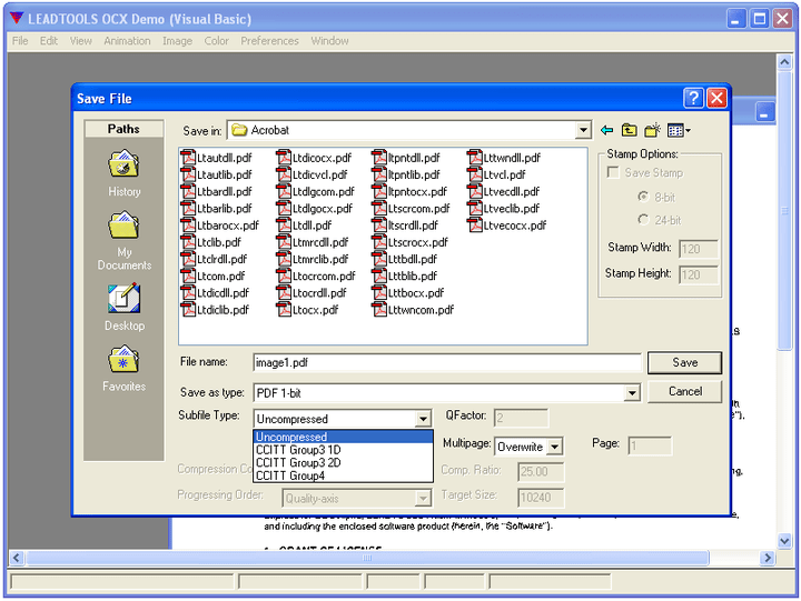1-bit PDF Compression (write): CCIT Compression to 1-bit PDF documents, select from Group 3 or 4 compression types.