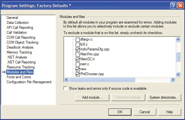 Customizable: BoundsChecker error detection is highly customizable, allowing you to select which files to check or suppress.