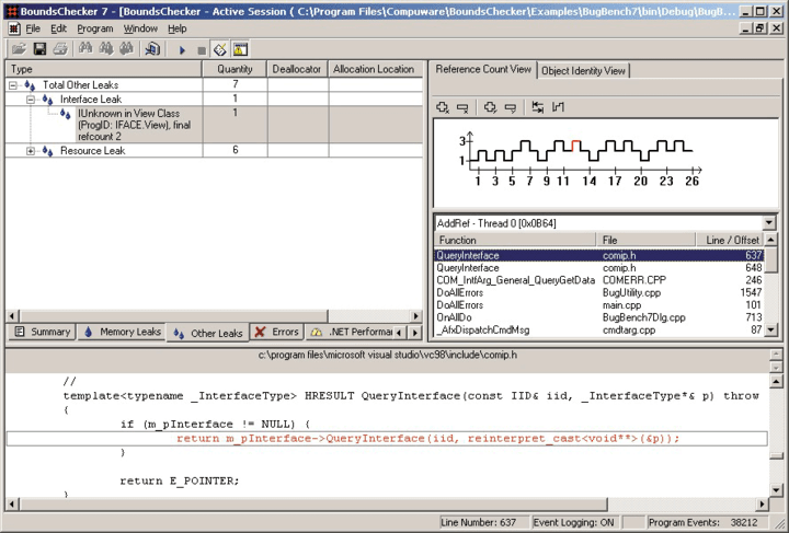 Monitor Component Calls: BoundsChecker monitors COM component calls and graphically displays missing or mismatched AddRef/Release calls.