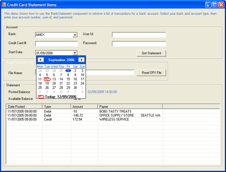 CCStatement Component: You can use the CCStatement component to retrieve a credit card statement.