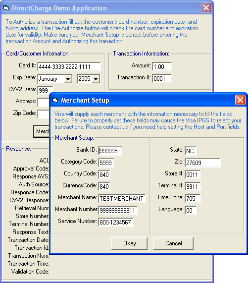 DirectCharge: Use the DirectCharge component to authorize credit cards.