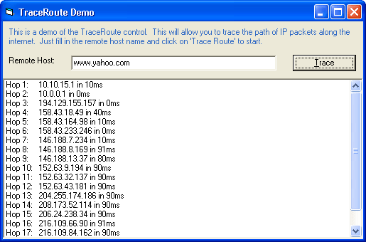 Trace Route: You can use the TraceRoute control to trace website routes.