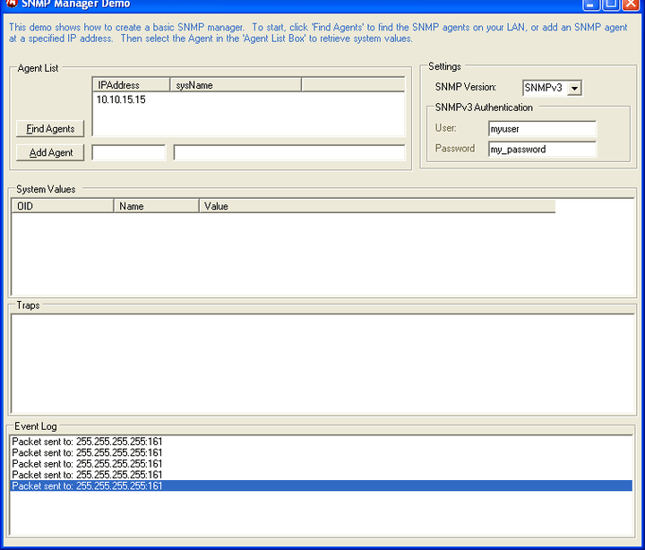 SNMP Manager: Create a basic SNMP manager that will find and query SNMP agents for their system information. The manager will also react to SNMP traps.