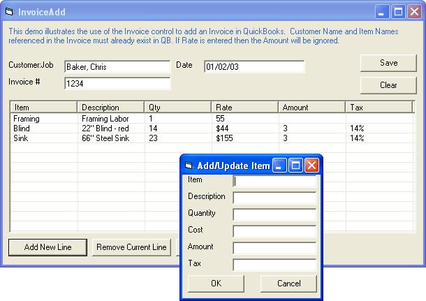 Invoice: Add invoices to QuickBooks.