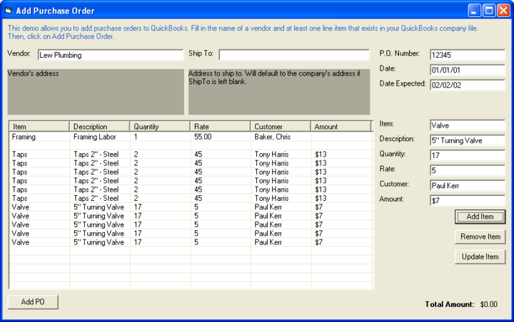 Screenshot of QuickBooks Integrator PHP Edition