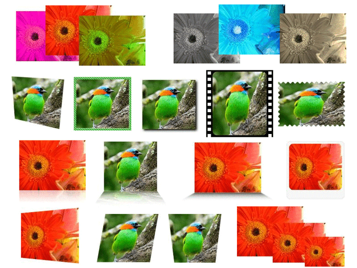 ImageDraw built-in Imaging Effects (Actions) out-of-the-box: ImageDraw Actions are imaging effects that are applied on any ImageDraw Element objects. ImageDraw comes with 33 built-in ready to use Actions. Lots of useful Imaging Effects out of the box includes: Adjust Brightness, Contrast, Gamma, Hue, Saturation, Opacity, HSL; Convert To Grayscale, Negative, Sepia; Crop, Drop REAL Shadow, Flip, Make Transparent, Perspective Shadow, Resize, Scale, Rotate, Round Corners, Silhouette, Stretch, Decorative Border, Glass Table (