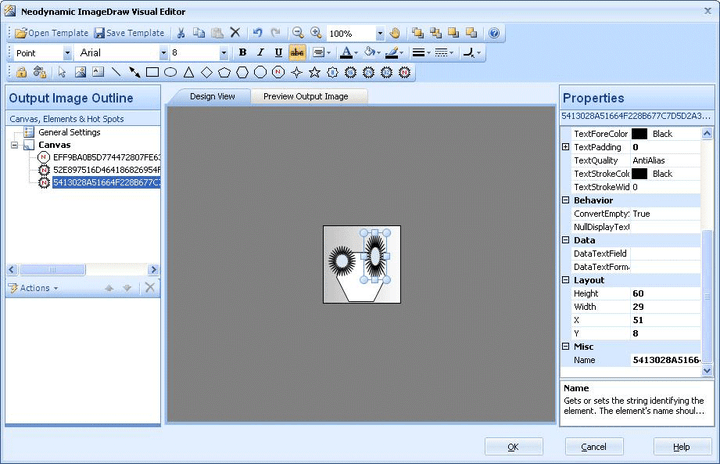 Visual Studio, VWD and Expression Web Design-time Support: ImageDraw for ASP.NET features a powerful designer and utilities. When you drag & drop ImageDraw from Visual Studio Toolbox, the ImageDraw Designer shows you the output image that ImageDraw will render at runtime.