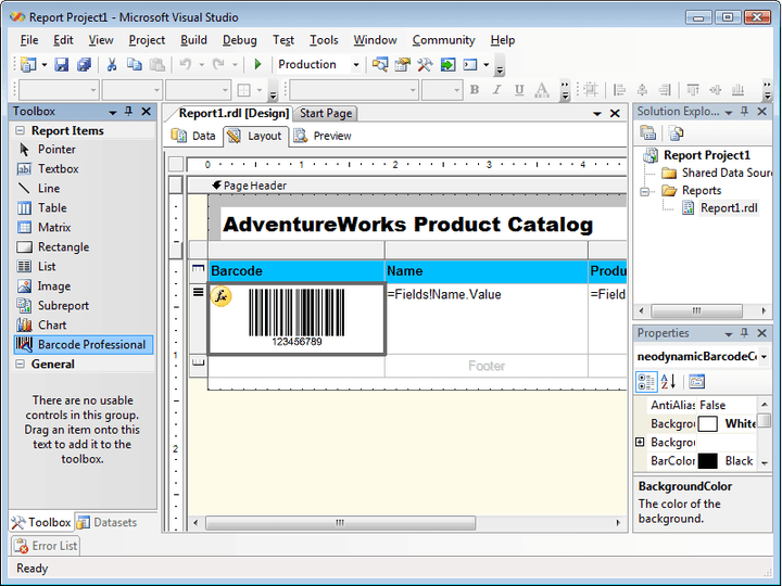 Barcoding: Neodynamic Barcode Professional for Reporting Services automatically computes checksum or check digits for all Symbologies. 64-bit assembly for Reporting Services 2005 included.