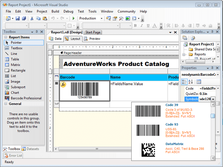 Visual Studio 2005 & Reporting Services 2005 Design-time support: Barcode Professional provides an impressive design-time experience through out its exclusive Property Editor a.k.a. Barcode Builder. This feature is available when you use Barcode Professional with Visual Studio 2005 or SQL Server Business Intelligence Development Studio to design or create Report Server Projects that targets SQL Server 2005 Report Servers only. When you develop Report Server Projects (SQL Server 2005 Reporting Services) you're ab