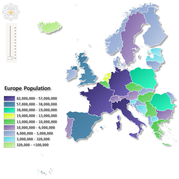 Europe Population: A Choropleth Map is a thematic map in which areas are shaded or patterned in proportion to the measurement of the statistical variable being displayed on the map, such as population density, regions or per-capita income. Nevron Diagram makes it easy to import geographical data from Esri shapefiles. You can import the shapes in separate layers and control the way they are rendered applying various styles to them.