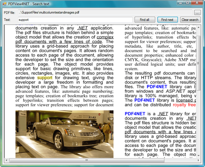 Search PDFs: You can search text and highlight search results in the PDFPageView control.