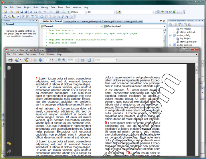 Textflow: Format text into one or more rectangular or arbitrarily shaped areas with hyphenation (user-supplied hyphenation points required), font and color changes, justification methods, tabs, leaders, control commands; wrap text around images. Advanced line-breaking with language-specific processing. Flexible image placement and formatting. Wrap text around images or image clipping paths.