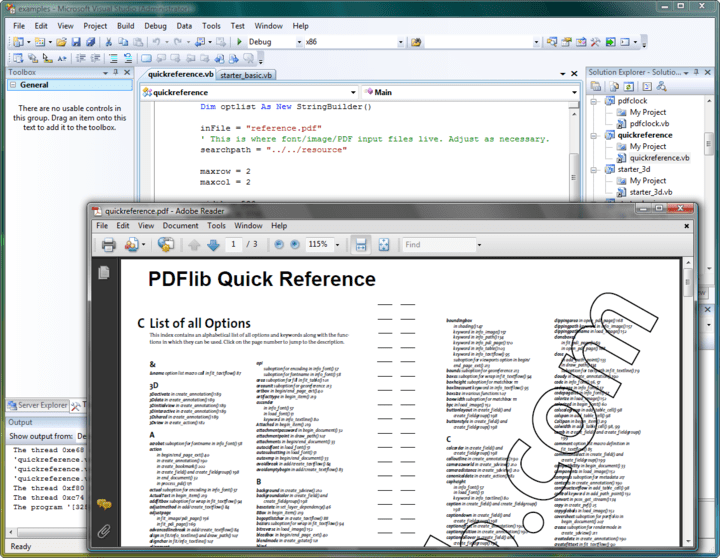 PDF Output: Generate PDF documents on disk file or directly in memory (for Web servers). High-volume output and arbitrary PDF file size (even beyond 10 GB). Suspend/resume and insert page features to create pages out of order.