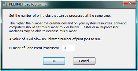 Set Job Limit: With TIFF Image Printer you can set the number of print jobs that can be processed at the same time.