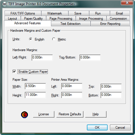 Advanced Features: The Advanced Features allow you to control the paper size and margins of the printer.