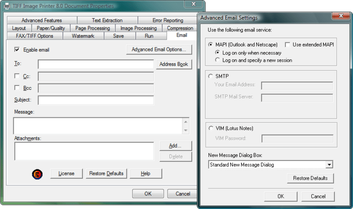 Email: Using the Email tab, you can configure TIFF Image Printer to automatically email the images you create. Information entered in the fields on this dialog will be used for all email messages sent by the driver.