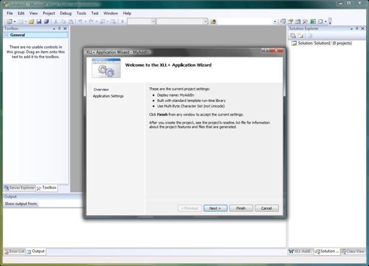 Screenshot of XLL Plus for Visual Studio 2010