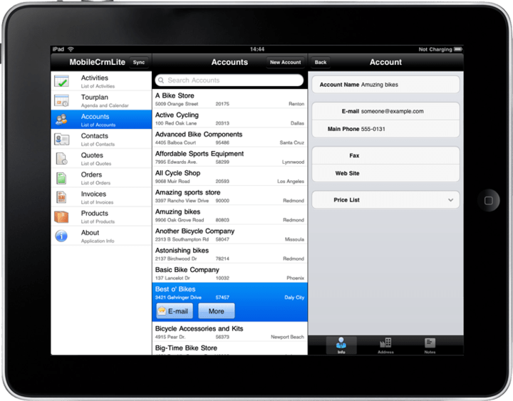 Create applications for the Apple iPad.: This is an example of an application developed in Resco MobileApp Studio targeting the Apple iPad.